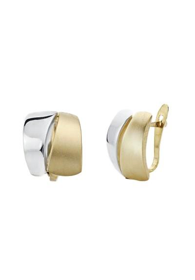 Pendientes oro bicolor 9k mate y brillo