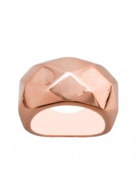 Anillo sortija facetada plata/oro rosa