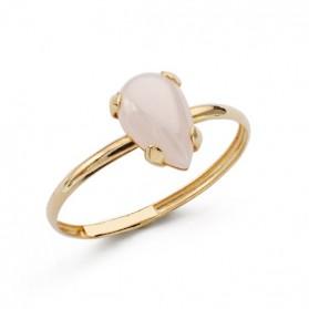 Anillo sortija oro amarillo con piedra rosa