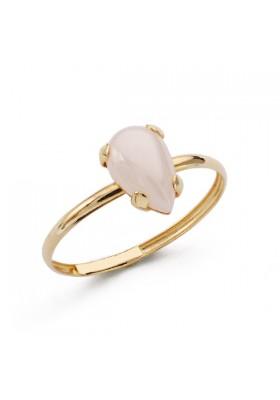 Anillo sortija oro amarillo 9k con piedra rosa