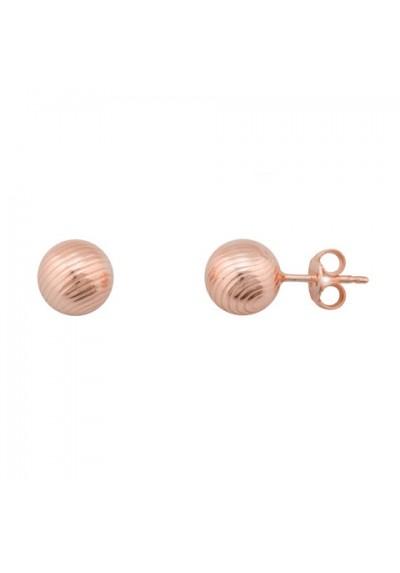 Pendientes bola gallonada plata/oro rosa