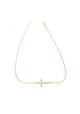 Gargantilla cruz plata/oro amarillo