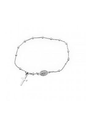 Pulsera rosario plata de ley