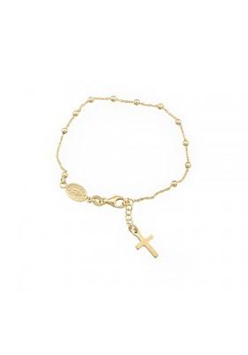 Pulsera rosario plata/oro amarillo