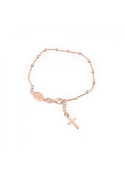 Pulsera rosario plata/oro rosa