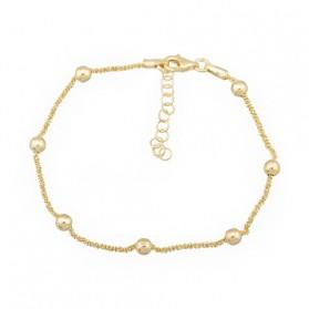 Pulsera cadena bolas plata/oro amarillo