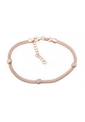 Pulsera cadena chaton plata/oro rosa