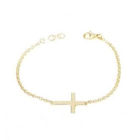 Pulsera con cruz plata/oro amarillo