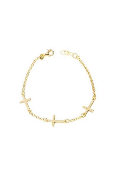 Pulsera trio cruces plata/oro amarillo