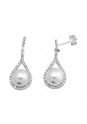 Pendientes novia perla circonitas plata de ley