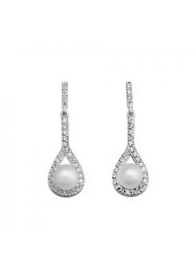 Pendientes novia perlas circonitas plata de ley
