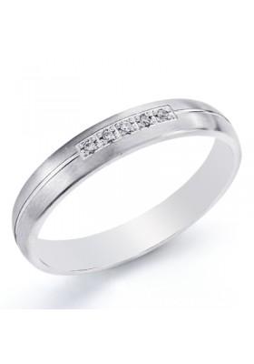 Alianza boda oro blanco de ley gallon circonitas