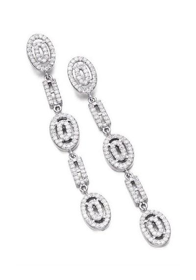 Pendientes novia largos orlas circonitas plata de ley