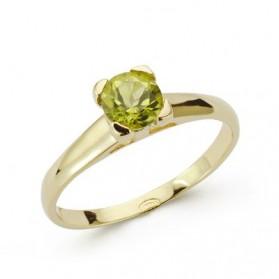 Solitario oro amarillo con olivina
