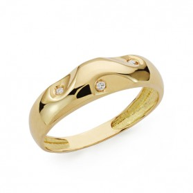 Anillo oro amarillo y diamantes 0,03 qts