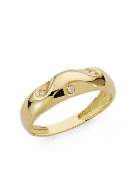 Anillo oro amarillo y diamantes 0,03 qts