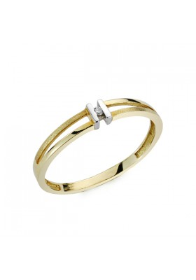 Anillo oro bicolor y diamantes 0,0136 qts