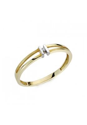 Anillo oro bicolor y diamantes 0,0136 qts