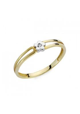 Anillo oro bicolor y diamantes 0,01 qts flor