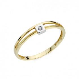 Anillo oro bicolor y diamantes 0,01 qts cuadrado