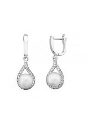 Pendientes novia lagrima perla circonitas plata de ley