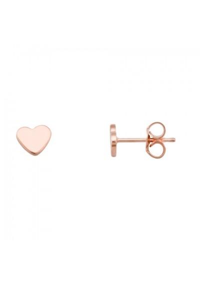 Pendientes de corazon en plata/oro rosa