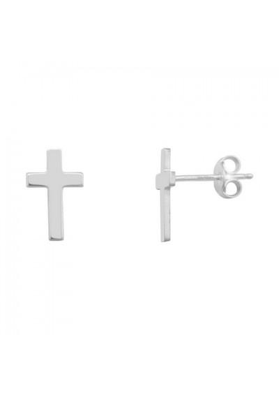Pendientes cruz plata de ley