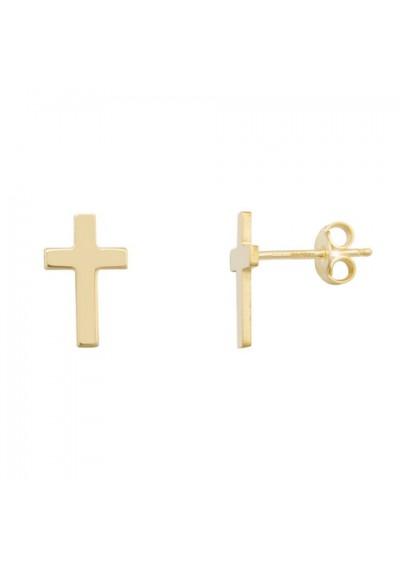 Pendientes cruz plata/oro amarillo