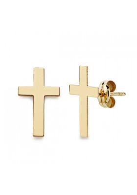 Pendientes de cruz en oro amarillo