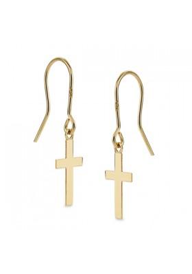 Pendientes de monaquela con cruz oro amarillo