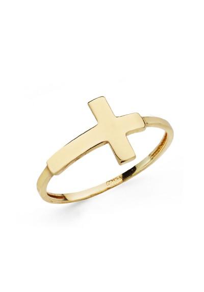 Sortija de cruz tumbada en oro