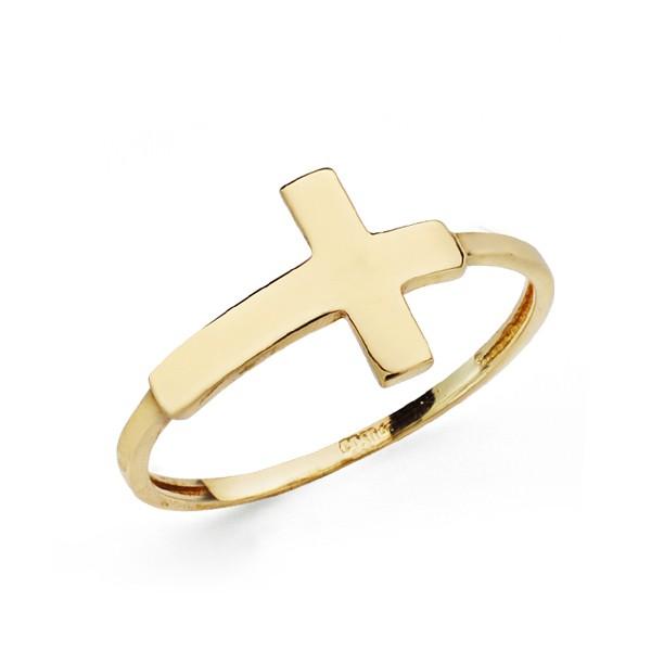 0c6b8f2c5958 Sortija de cruz tumbada en oro - Joyería Diamantela
