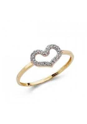 Sortija de corazón con pavé en oro