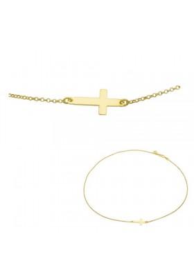 Cadena colgante cruz tumbada plata/oro amarillo