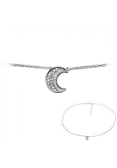 Cadena colgante luna con pavé plata de ley
