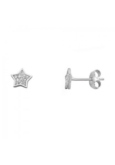 Pendientes estrella micro pavé circonitas plata de ley