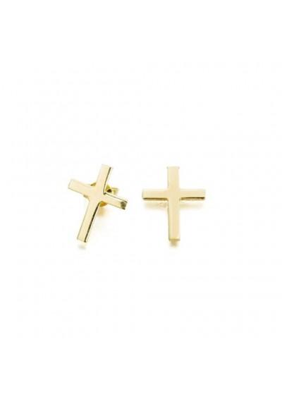 Pendientes de cruz plata/oro amarillo
