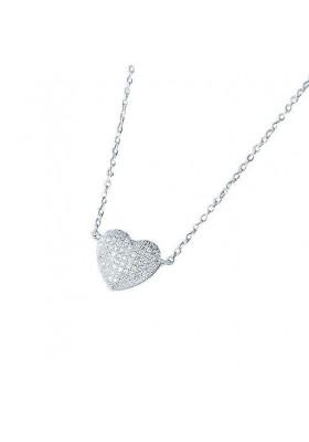 Cadena colgante corazón circonitas plata de ley
