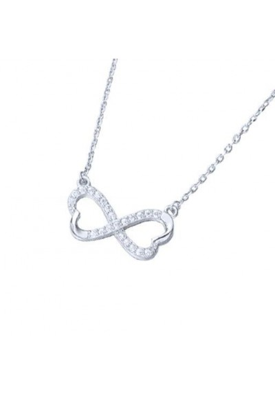 Cadena colgante corazón infinito circonitas plata de ley