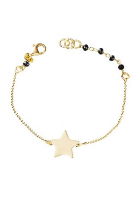 Pulsera colgante estrella onix plata/oro amarillo